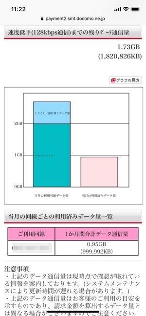 NTTドコモのデータ通信量確認の画面