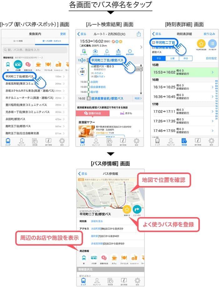 iOS版「Yahoo!乗換案内」アプリ、「バス停登録機能」を追加