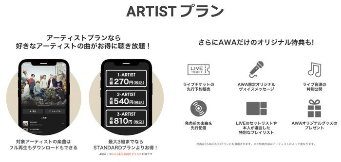 音楽配信サービス「AWA」、好きなアーティストの楽曲が月額270円で聴き放題となる「ARTISTプラン」を提供