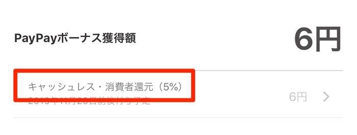 PayPayボーナス(キャッシュレス・消費者還元5%)