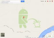 またイタズラか、GoogleマップでAndroidマスコットが放尿 標的はAppleロゴ